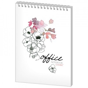 Блокнот 40л, кл, А5, Office Flowers, спир, глян.лам (NBA5-40OF)